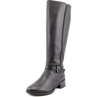 Easy Spirit Nadette Wide Calf Women W Round Toe Leather Black Knee High Boot