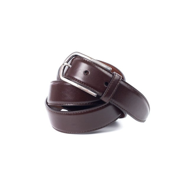 Brunello Cucinelli Brown Leather Worn-Silver Buckle Belt