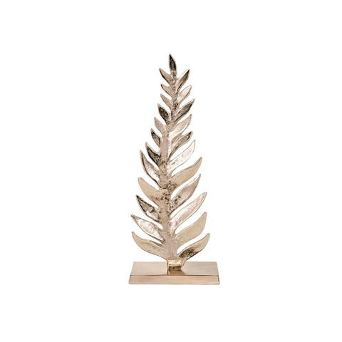 """18"""" Glossy Silver Color Carrolton Small Leaf Sculpture Tabletop"""