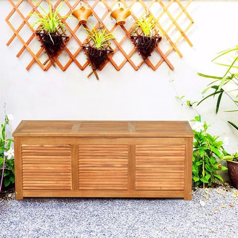47 Gallon Acacia Wood Deck Box Garden Backyard Storage Bench