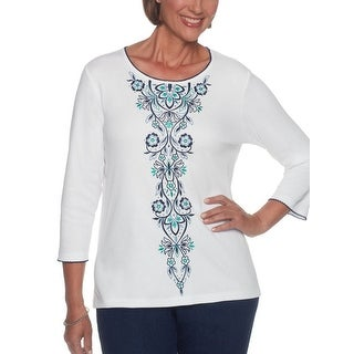 Alfred Dunner Women's Montego Bay Center Multi Embroidery Top