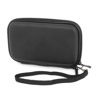 Unique Bargains Black Faux Leather Zippered Carrying Bag Pouch Wallet for 2.5 Hard Drive Disk
