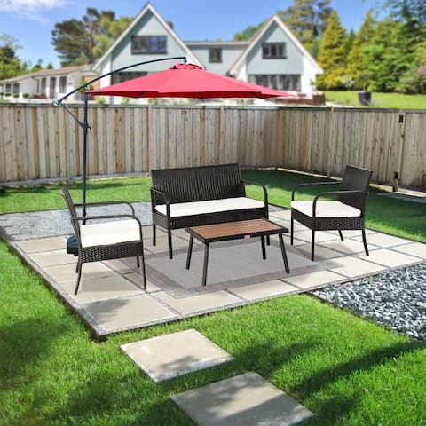 Patio Rattan Wicker 4PCS Conversation Set with Cushions