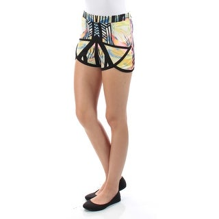 Womens Yellow Floral Casual Cropped Short Size XS