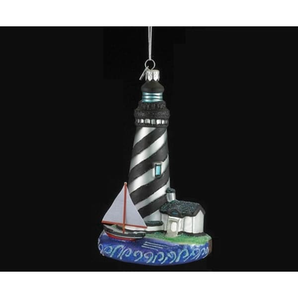 "5.5"" Seaside Escape Silver and Black Striped Glass Lighthouse Christmas Ornament"
