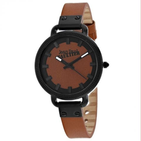 Jean Paul Gaultier Women's 8504314 'Index' Brown Leather Watch
