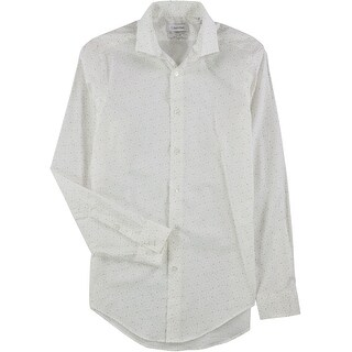 "Link to Calvin Klein Mens Steel Geometric Button Up Dress Shirt, white, 14.5"" Neck 32""-33"" Sleeve - 14.5"" Neck 32""-33"" Sleeve Similar Items in Shirts"