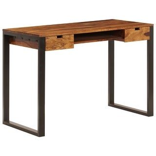 """vidaXL Desk 43.3""""x21.7""""x30.7"""" Solid Sheesham Wood and Steel"""