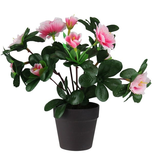 """8"""" Green and Brown Potted Artificial Rose Plant - N/A"""