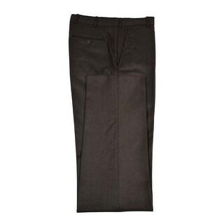 Zegna Dark Olive Flannel Flat Front and Unhemmed Dress Pants 30 Regular
