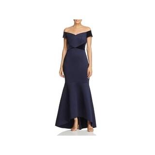 Eliza J Womens Evening Dress Velvet Trim Hi-Low