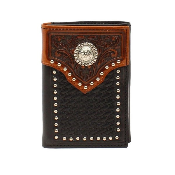 Ariat Western Wallet Mens Trifold Basket weave Overlay Black - One size