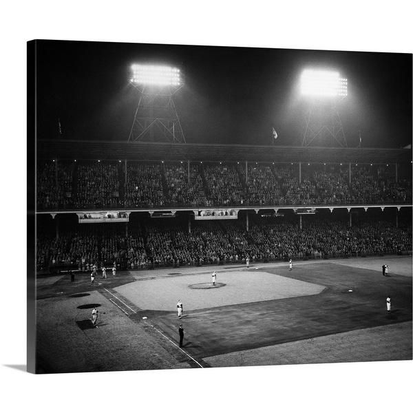 """1940's 1947 Baseball Night Game Under The Lights, Ebbets Field Brooklyn"" Canvas Wall Art"