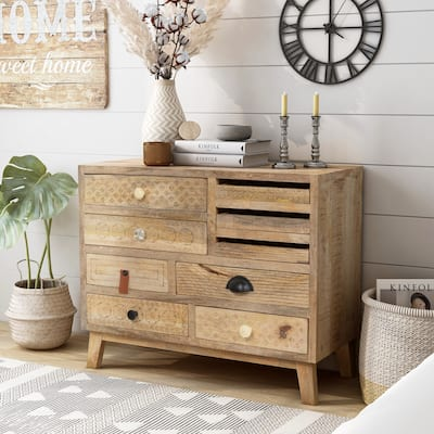 Hira Solid Mango Wood 25.5-inches Tall Multi-storage Bedside Chest