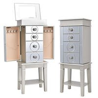 Costway Jewelry Cabinet Armoire Storage Box Stand Chest Organizer w/ 4 Drawers & Mirror