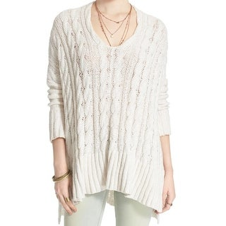 Free People NEW White Ivory Size Large L  Knit Scoop Neck Sweater