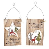 """Club Pack of 24 Wooden Brown and White Star and Heart Ornaments 7"""""""