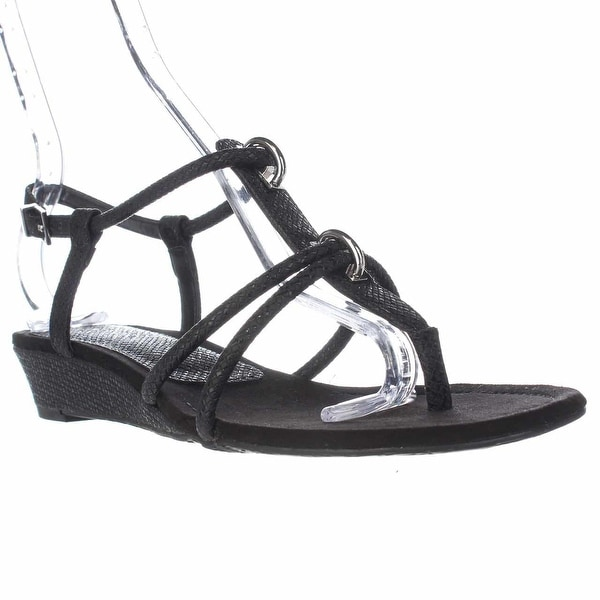 A35 Carah T-Strap Low Wedge Sandals, Black