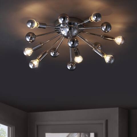 "Copernicus 20"" 7-Light Metal LED Pendant, Chrome by JONATHAN Y"