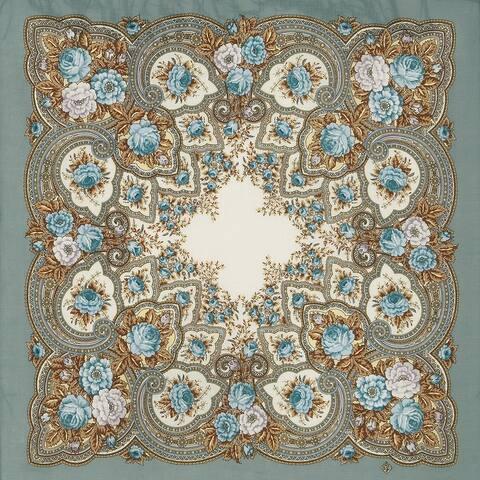 Russian Pavlovo Posad Words of Love Wool Scarf /Shawl W/Tassels