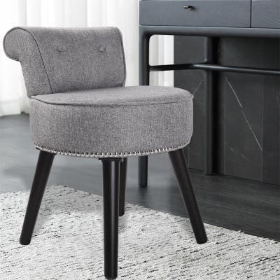 Veikous Makeup Vanity Stool Chair with Low Back and Wood Legs