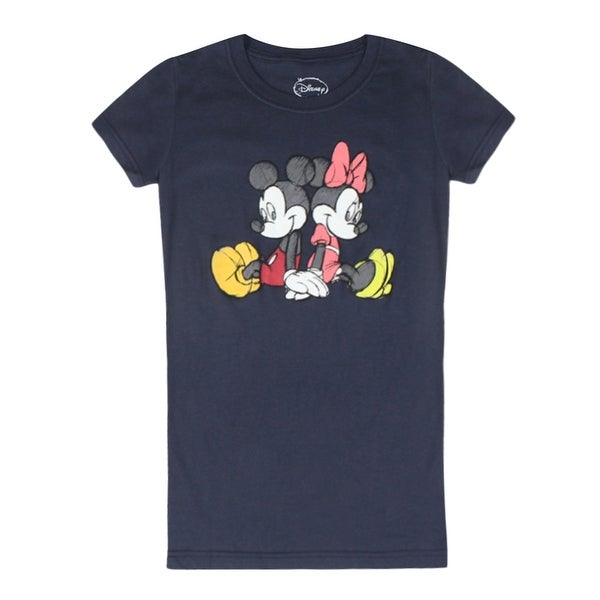 e4e68e10c2 Shop Disney Mickey Mouse and Minnie Mouse Black Junior s Black T-shirt -  Free Shipping On Orders Over  45 - Overstock - 17064738