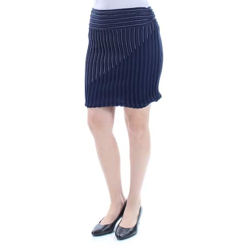 RACHEL ROY Womens Navy Textured Striped Mini Pencil Skirt Size: S