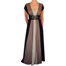 Funfash Plus Size Dress Black Caramel Tan Women Cocktail Maxi Dress