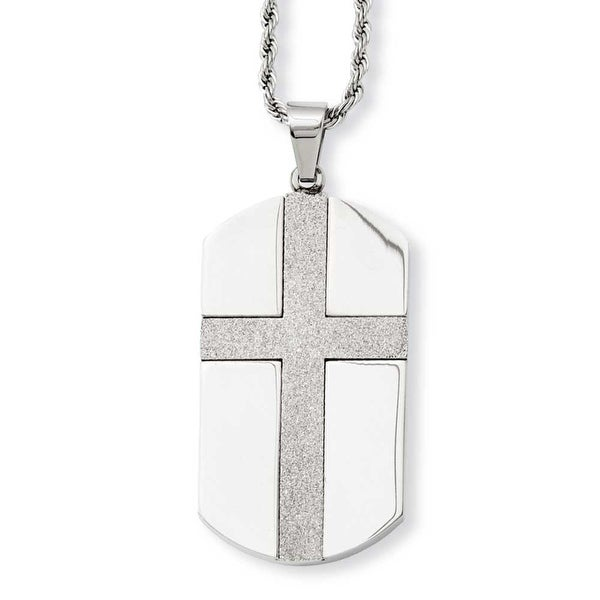Stainless Steel Laser Cut Cross Center Dogtag Pendant 24in Necklace (2 mm) - 24 in