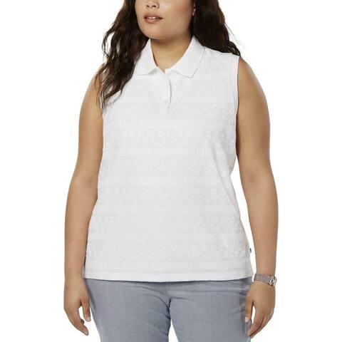 Tommy Hilfiger Women's Blouse Optic White Size 3X Plus Polo Tank Lace