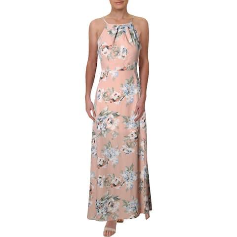 Aqua Womens Maxi Dress Floral Halter - Light Pink