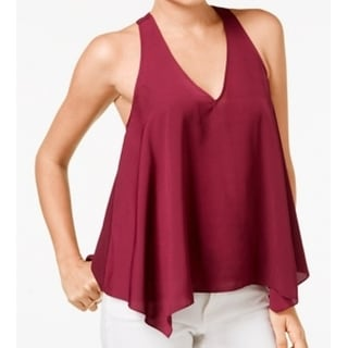 Guess NEW Red Women's Size Medium M V-Neck Chain-Back Solid Blouse
