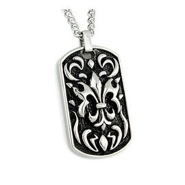 Stainless Steel Fleur De Lis Dog Tag Pendant - 24 inches