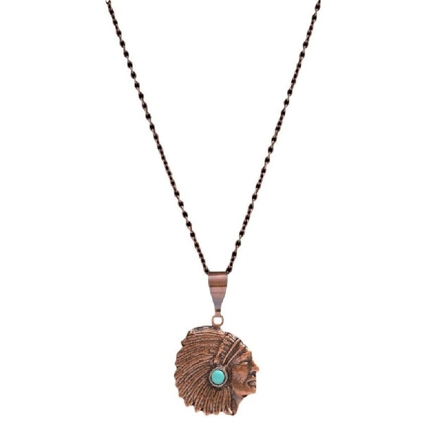 "LoulaBelle Jewelry Womens Necklace Indian Chief 28"" Copper LN9043CTQ - copper turquoise"