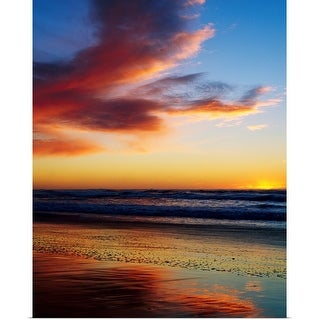 """Sunset And Clouds Over Pacific Ocean"" Poster Print"