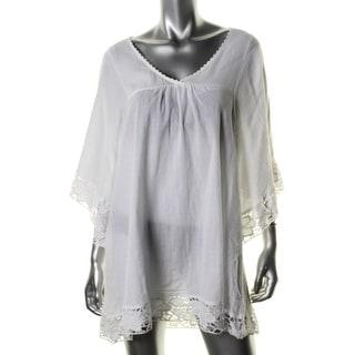 L Space Womens Cotton V-Neck Dress Swim Cover-Up - S
