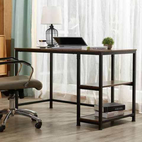 "CO-Z 47.2"" Home Office Computer Desk with Wooden Storage Shelves"