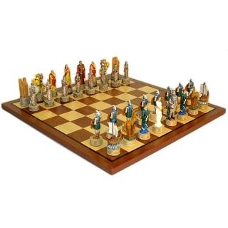 Troy Vs Sparta Chess Set W/ Sapele And Maple Board   Multicolored