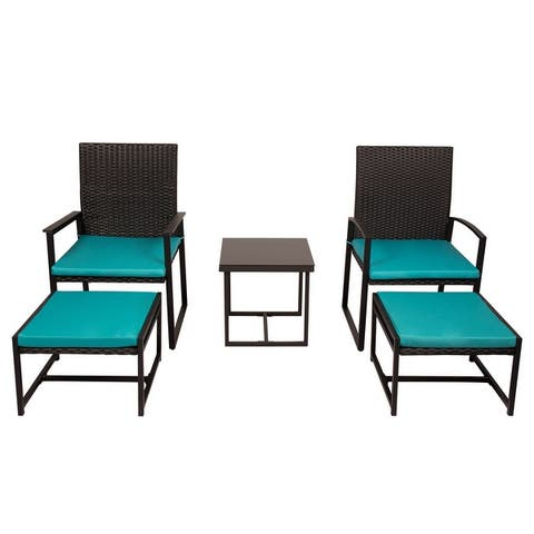 Kinbor 5-piece Patio Bistro Set, Outdoor Furniture Conversation Set, Wicker Porch Chairs and Ottomans w/ Cushions, Table