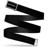 Datsun Text Fcg Black White  Chrome Black Webbing Web Belt