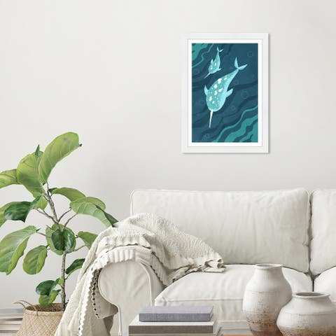 Olivias Easel Prints 'Narwhals' Animals Blue Wall Art Framed Print