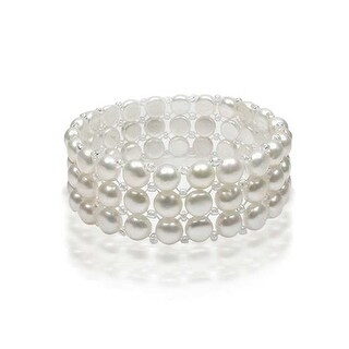 Bling Jewelry White Button Freshwater Cultured Pearl Stretch Bracelet 3 Strand