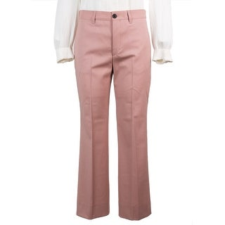 Miu Miu Womens Pink Wool Cropped Straight Leg Trousers - 6