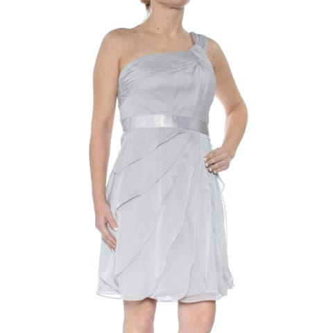 ADRIANNA PAPELL Womens Gray Ruffled Sleeveless Asymetrical Neckline Above The Knee Fit + Flare Party Dress Size: 4