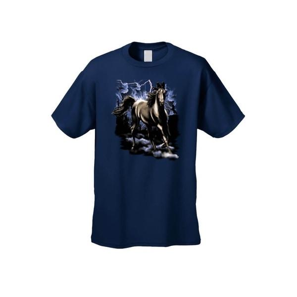 Men's T-Shirt Wild Black Horse In Lightning Storm Stallion Night Sky Unisex