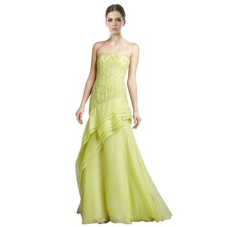 J Mendel Embroidered Strapless Citron Organza Evening Gown Dress