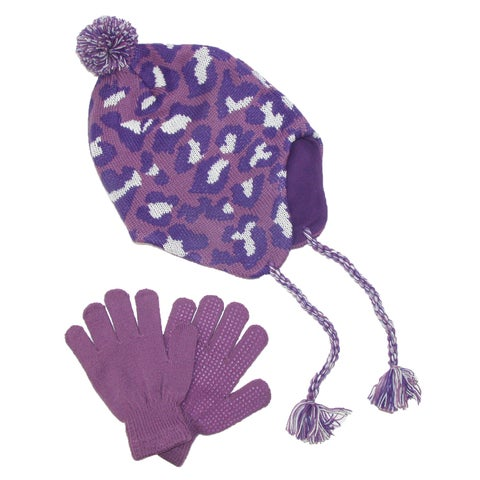 CTM® Girls' & Teens' Fleece Lined Animal Print Hat and Glove Set