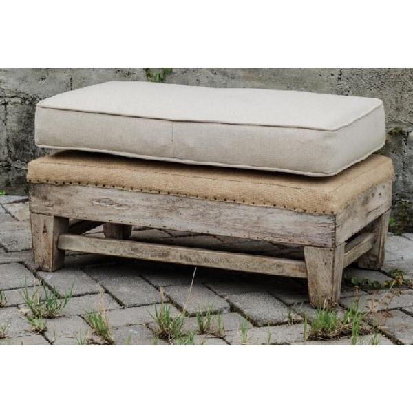 "Ottomans Ornate Mahogany Ottoman: Shop 30.75"" Soft Beige Linen Exposed Mahogany Linen"