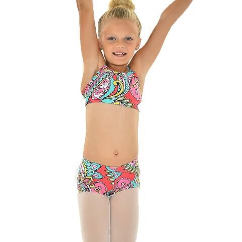 Little Girls Pink Teal Paisley ROXIE Camisole Bra Top Shorts Dancewear Set