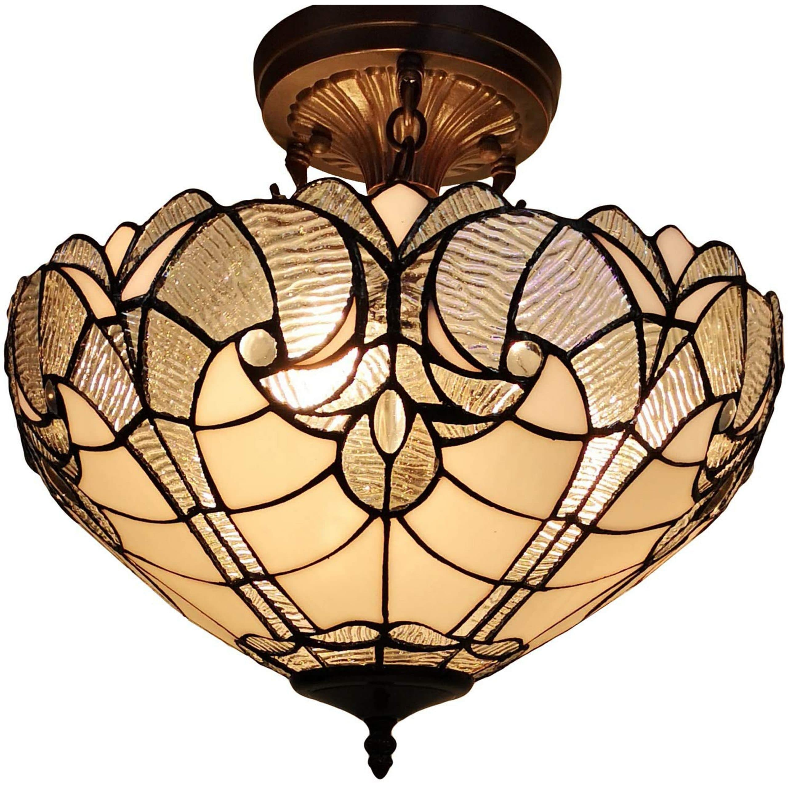 Shop Tiffany Style Ceiling Lamp Fixture Semi Flush 16 Wide White Stained Glass 2 Dining Room Gift Am216hl16b Amora Lighting Overstock 11951937